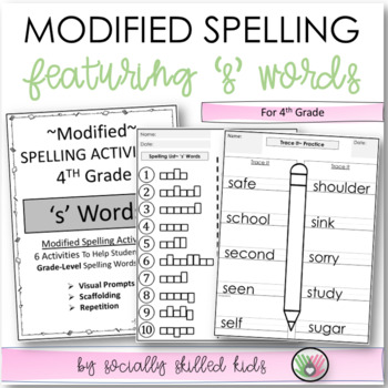 Modified Spelling Activities || Featuring 's' Words || 4th Grade