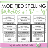 "Modified Spelling Lists & Activities For 4th  Grade Bundle 1 {""b"" - ""g""  words}"