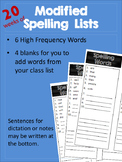 Modified Spelling Lists for 20 weeks