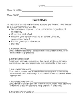 Modified Sport Ed. Team Roles