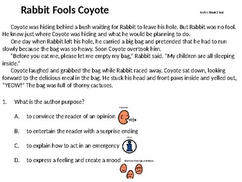 Modified Test: Reading Street 4th grade Rabbit Fools Coyote Unit 1 Week 2