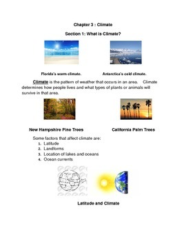 Modified Unit Section 1 : What is Climate?
