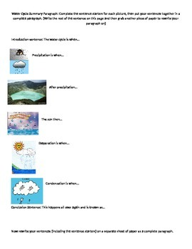 Modified Water Cycle Paragraph Graphic Organizer/Sentence Starters