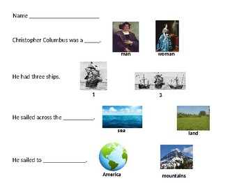 Speech Therapy-Special Education-Christopher Columbus modified worksheet
