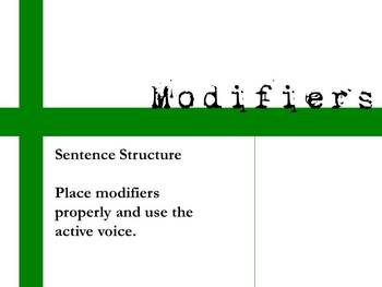 Modifiers - Misplaced, Dangling, Active Passive Voice