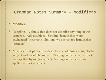 Modifiers Powerpoint Review