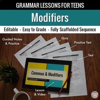 Modifiers Unit: Grammar Lesson, Quiz, Test, & More
