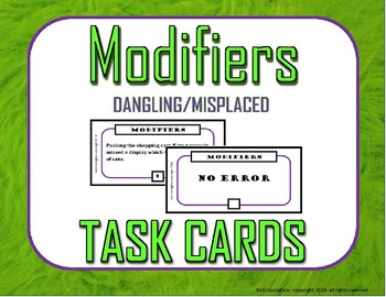 Dangling and Misplaced Modifiers Task Cards