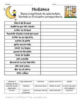 Modismo Worksheets & Teaching Resources | Teachers Pay Teachers