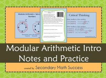 Modular Arithmetic Introduction: Notes and Application Worksheet