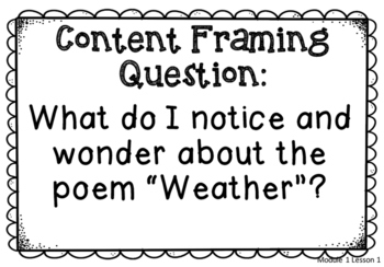 Module 1 Essential, Focusing, and Content Framing Questions Poster