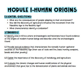 Module 1 Human Origins TN Standards and Vocabulary