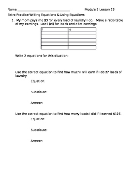 Module 1 Lesson 13 Extra Practice-6th Grade Math