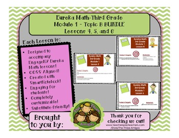 BUNDLE Module 1 Topic B Eureka Math Third Grade SmartBoard Lessons 4-6