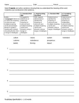 Wit & Wisdom Module 1 Vocab Quiz