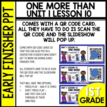 Early Finishers Activities | One More Than | Module 1 lesson 10