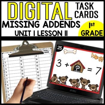 Missing Addends DIGITAL TASK CARDS