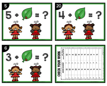 MATH TASK CARDS [count on to find the sum]