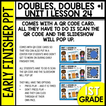 Early Finishers Activities | Doubles | Doubles Plus 1 | Module 1 lesson 24