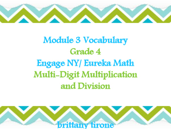 Module 3 Grade 4 Engage NY/Eureka Math Common Core Vocabulary Cards
