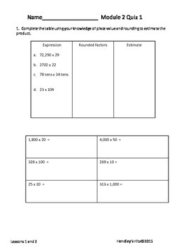 Module 2 Quizzes 5th Grade Eureka Math