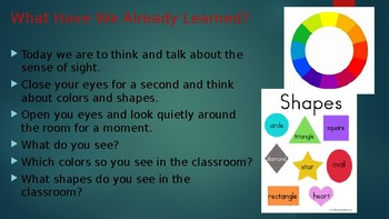 Engage NY:  Module 2 - The Five Senses:  Lesson 2A - The Sense of Sight