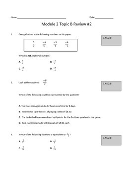 Module 2 Topic B Review #2: Multiplying and Dividing Rational Numbers