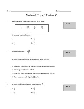 Module 2 Topic B Review #1: Multiplying and Dividing Rational Numbers