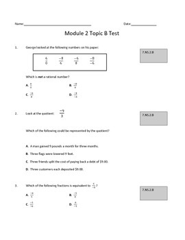 Module 2 Topic B Test: Multiplying and Dividing Rational Numbers