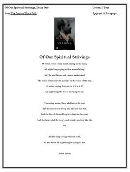 Module 2 Unit 1 Du Bois Of Our Spiritual Strivings