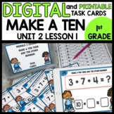 Three addends [Make a ten]  DIGITAL TASK CARDS | PRINTABLE