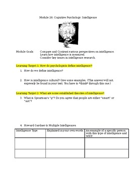 Module 26 AP Psychology Intelligence Worksheet/Learning Target Guided Reading