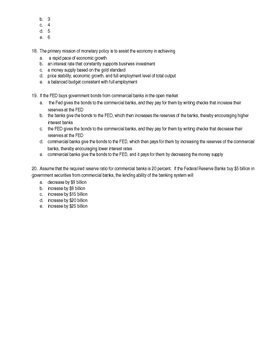 Module 27 The Federal Reserve and Monetary Policy