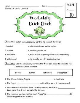 EngageNY 3rd Grade ELA Module 2A: Unit 2: Lesson 8 Vocabulary Quick Check