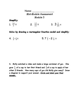 Module 3, Grade 5, Eureka Math, Alternative quizzes and assessments