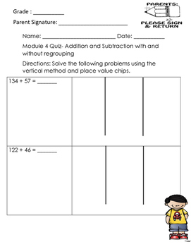 Module 4 Addition and Subtraction with and without regrouping QUIZ!