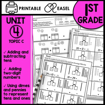 Math Worksheets 1st Grade Add And Subtract Tens Add Tens To A 2