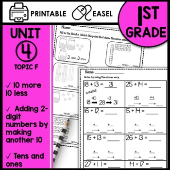 Math Worksheets 1st Grade TEN MORE TEN LESS