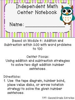 Module 4 Two Digit Addition-Subtraction Practice Notebook
