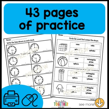 Math Worksheets  shapes, 1/2, 1/4, time to the hour/half