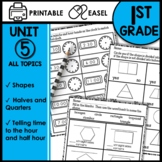 Fractions Shapes and Telling Time 1st Grade Math Worksheets