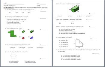 Module 5 Test (Geometry) 6th Grade