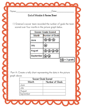 End of Module 6 Review Sheet Grade 3 (Eureka Math / Engage NY)