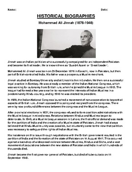 Mohammad Ali Jinnah Biography Article and (3) Assignments