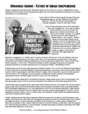 Mohandas Gandhi Biography and Questions Worksheet