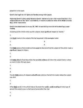 Mohandas Ghandi Biography Article and Assignment Worksheet