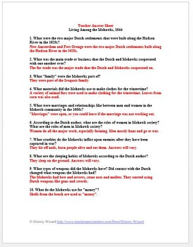 Mohawks Native American Primary Source Worksheet 1644