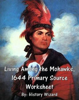 Mohawks Native American Primary Source Worksheet 1644