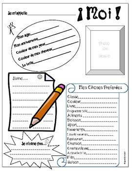 Moi! All about me activity - French 1 - Printable - No Prep