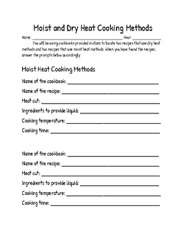 Moist and Dry Heat Cooking Methods Cookbook Search